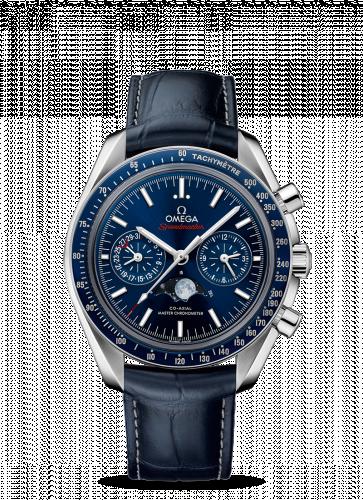 Omega 304.33.44.52.03.001 : Speedmaster Moonphase Chronograph Master Chronometer Stainless Steel / Blue / Alligator