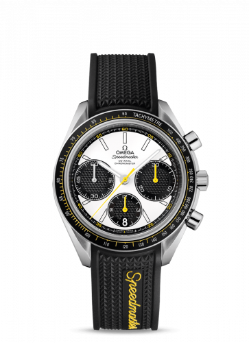 Omega 326.32.40.50.04.001 : Speedmaster Racing Co-Axial Chronograph Stainless Steel / Silver-Yellow / Rubber