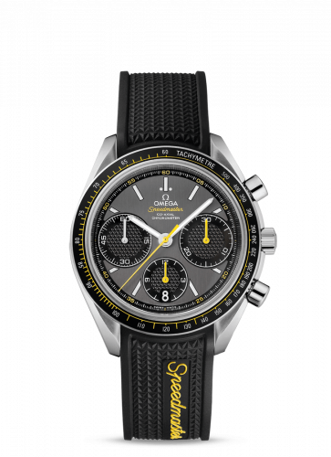 Omega 326.32.40.50.06.001 : Speedmaster Racing Co-Axial Chronograph Stainless Steel / Grey-Yellow / Rubber
