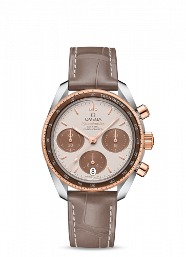 Omega 324.23.38.50.02.002 : Speedmaster Co-Axial 38 Stainless Steel / Sedna Gold / Cappuccino