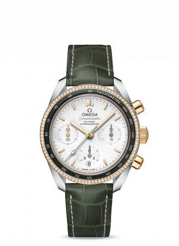 Omega 324.28.38.50.02.001 : Speedmaster Co-Axial 38 Stainless Steel / Yellow Gold / Diamond / Silver