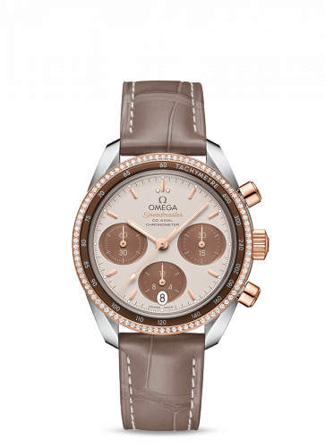 Omega 324.28.38.50.02.002 : Speedmaster Co-Axial 38 Stainless Steel / Sedna Gold / Diamond / Cappuccino