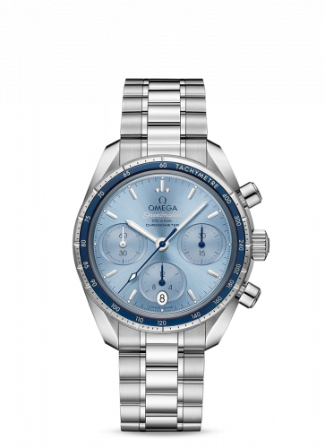 Omega 324.30.38.50.03.001 : Speedmaster Co-Axial 38 Stainless Steel / Blue / Bracelet