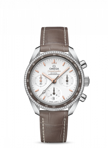 Omega 324.38.38.50.02.001 : Speedmaster Co-Axial 38 Stainless Steel / Diamond / Silver / Strap