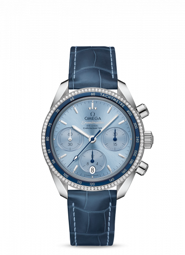 Omega 324.38.38.50.03.001 : Speedmaster Co-Axial 38 Stainless Steel / Diamond / Blue / Strap