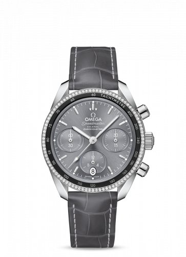 Omega 324.38.38.50.06.001 : Speedmaster Co-Axial 38 Stainless Steel / Diamond / Grey / Strap