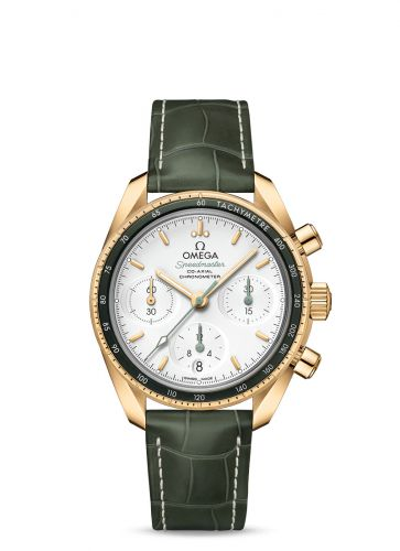 Omega 324.63.38.50.02.004 : Speedmaster Co-Axial 38 Yellow Gold / Silver / Strap