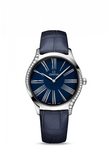 Omega 428.18.36.60.03.001 : De Ville Trésor 36 Stainless Steel / Blue - Roman / Alligator