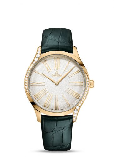Omega 428.58.39.60.02.001 : De Ville Trésor 39 Moonshine Gold / Silver Silk / Alligator