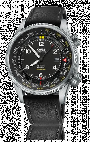 Oris 01 733 7705 4164-Set 5 23 19FC : Big Crown ProPilot Altimeter Meter / Black Leather