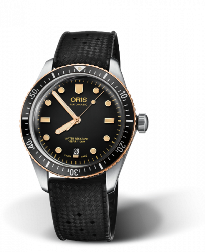 Oris 01 733 7707 4354-07 4 20 18 : Divers Sixty-Five 40 Stainless Steel / Bronze / Black / Rubber