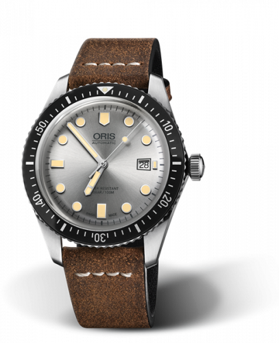 Oris 01 733 7720 4051-07 5 21 02 : Divers Sixty-Five 42 Stainless Steel / Silver / Calf