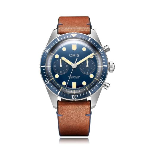 Oris 01 771 7744 4095-5.21 11 : Divers Sixty-Five 43 Chronograph Stainless Steel / Blue / Bucherer Blue