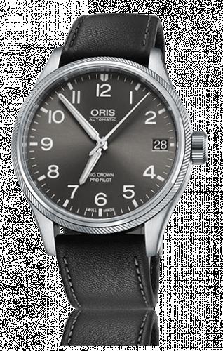 Oris 01 751 7697 4063-07 5 20 19FC : Big Crown ProPilot Date Grey / Black Leather