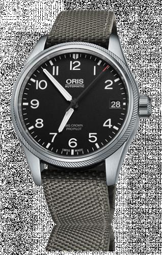 Oris 01 751 7697 4164-07 5 20 17FC : Big Crown ProPilot Date Black / Grey Textile