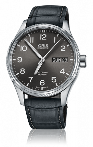 Oris 01 752 7698 4063-07 5 22 06FC : Big Crown ProPilot Day Date Grey / Grey Leather