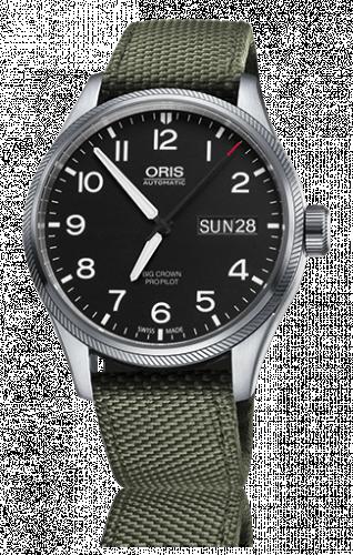 Oris 01 752 7698 4164-07 5 22 14FC : Big Crown ProPilot Day Date Black / Green Textile