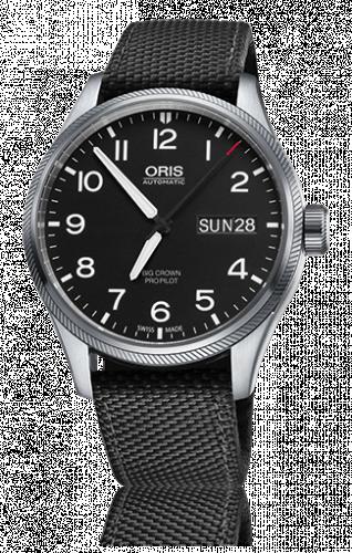 Oris 01 752 7698 4164-07 5 22 15FC : Big Crown ProPilot Day Date Black / Black Textile