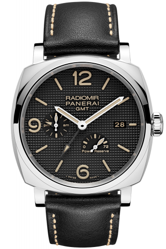 Panerai PAM00628 : Radiomir 1940 45 3 Days GMT Power Reserve Automatic Stainless Steel / Black - Hobnail