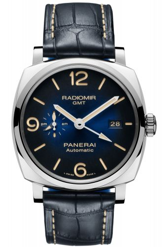 Panerai PAM00945 : Radiomir 1940 44 3 Days Automatic GMT Stainless Steel / Blue / Mediterraneo