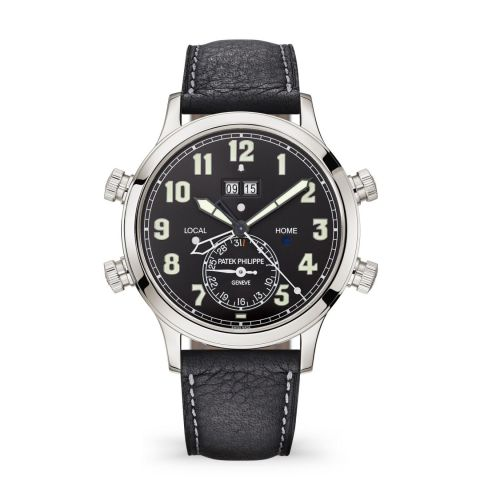 5520P-001 : Patek Philippe Calatrava Pilot Travel Time Alarm 5520 Platinum / Black