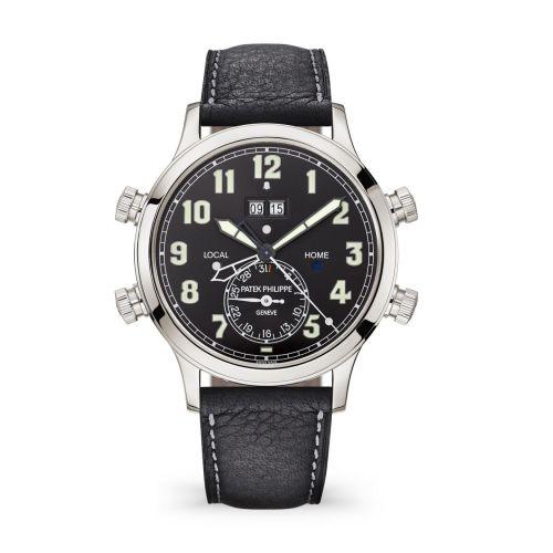 Patek Philippe 5520P-001 : Calatrava Pilot Travel Time Alarm 5520 Platinum / Black