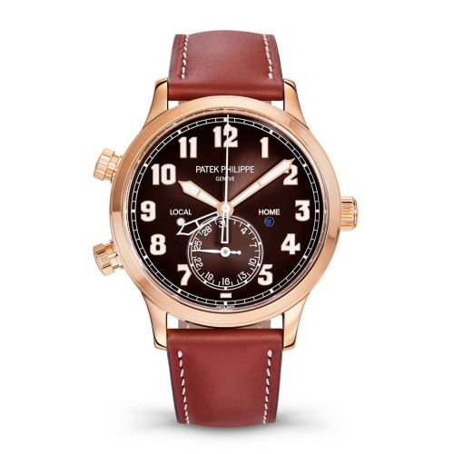 Patek Philippe 5524R-001 : Calatrava Pilot Travel Time 5524 Rose Gold / Brown