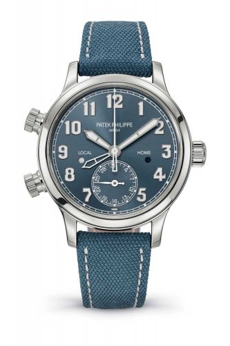 7234A-001 : Patek Philippe Calatrava Pilot Travel Time 7234 Stainless Steel / Blue