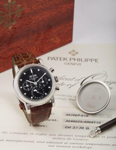 3970EP-019 : Patek Philippe Perpetual Calendar Chronograph 3970 Platinum / Black Diamond