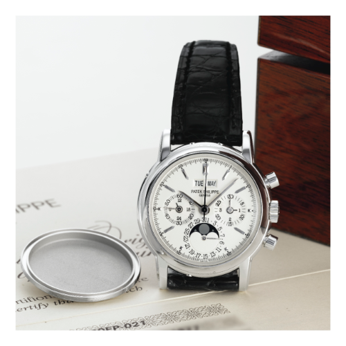 3970EP-021 : Patek Philippe Perpetual Calendar Chronograph 3970 Platinum / Silver Stick