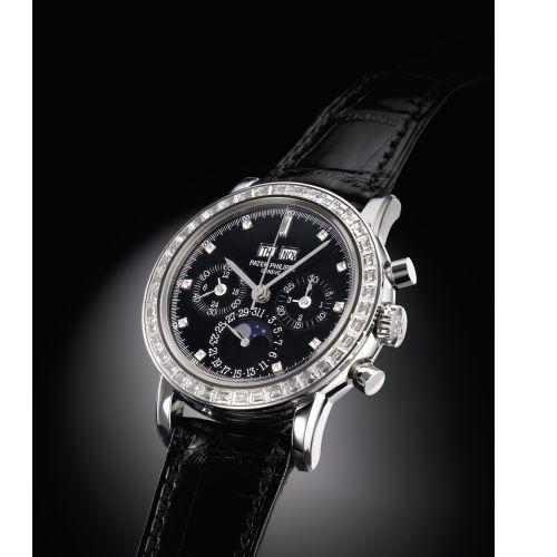Patek Philippe 3990P-029 : Perpetual Calendar Chronograph 3990 Platinum / Black Diamond