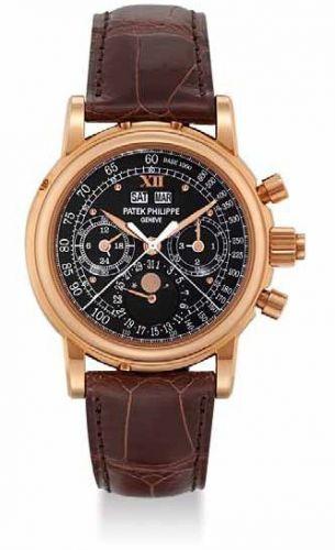 Patek Philippe 5004R_Black : Perpetual Calendar Split Seconds Chronograph 5004 Rose Gold / Black Roman