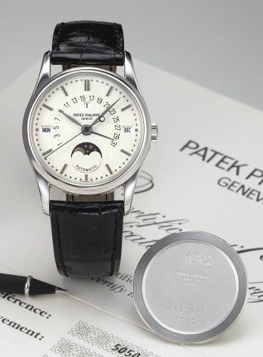 5050P-XX1 : Patek Philippe Perpetual Calendar 5050 Platinum / Silver Stick