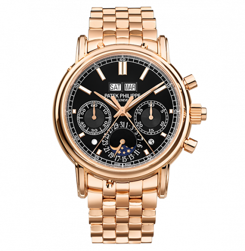 5204/1R-001 : Patek Philippe Perpetual Calendar Split-Seconds Chronograph 5204 Rose Gold / Black / Bracelet