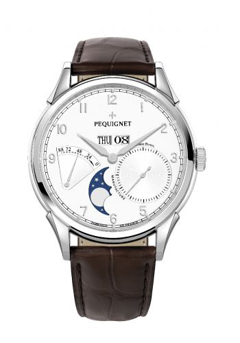 Pequignet 9030433CG : Royale Grand Sport Moonphase Silver Numerals / Brown Strap