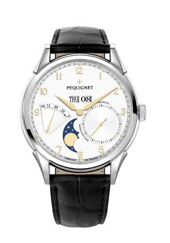 Pequignet 9030438CN : Royale Grand Sport Moonphase Gilt Numerals / Black Strap