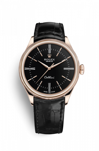 50505-0009 : Rolex Cellini Time Everose / Black / Alligator Black