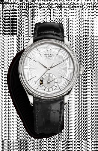 50529-0006 : Rolex Cellini Dual Time White Gold / Silver / Alligator Black