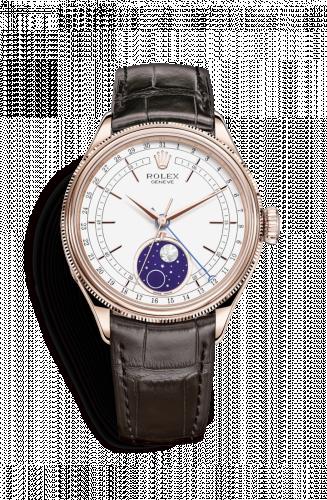 Rolex 50535-0002 : Cellini Moonphase Everose / White / Alligator