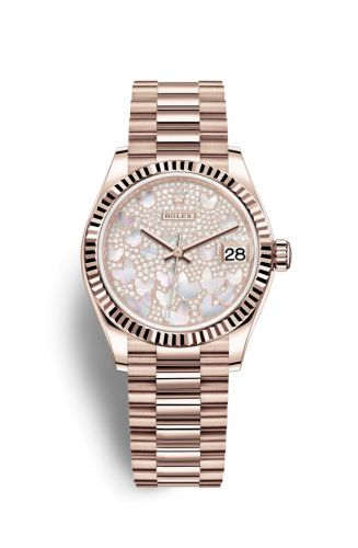 278275-0021 : Rolex Datejust 31 Rose Gold / Fluted / Butterfly / President