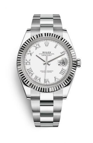 126334-0023 : Rolex Datejust 41 Stainless Steel Fluted / White - Roman / Oyster
