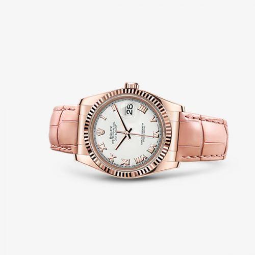 Rolex 116135-0044 : Datejust 36 Everose Strap Ivory Roman