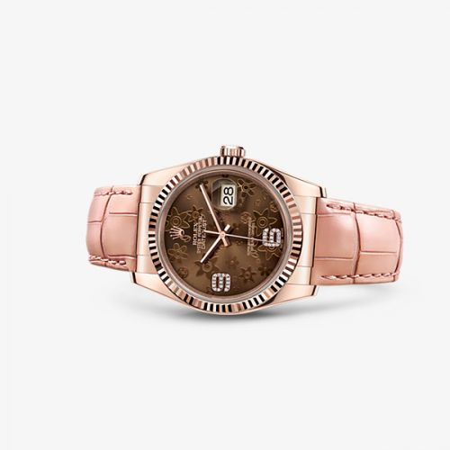 Rolex 116135-0052 : Datejust 36 Everose Strap Chocolate Floral