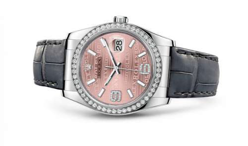 Rolex 116189-0076 : Datejust 36 White Gold Diamond Strap Pink Waves