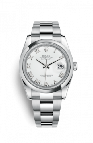 Rolex 116200-0055 : Datejust 36 Stainless Steel Domed / Oyster / White Roman