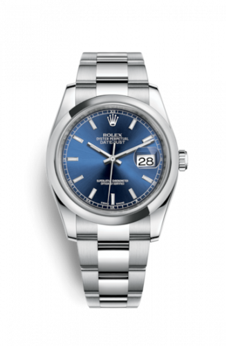 116200-0057 : Rolex Datejust 36 Stainless Steel Domed / Oyster / Blue