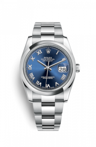 Rolex 116200-0060 : Datejust 36 Stainless Steel Domed / Oyster / Blue Roman