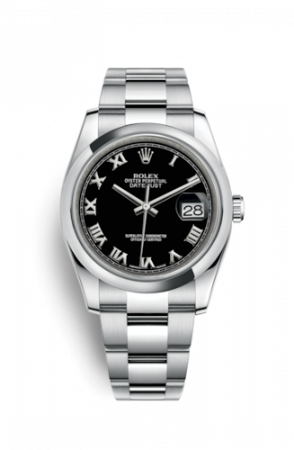 Rolex 116200-0061 : Datejust 36 Stainless Steel Domed / Oyster / Black Roman