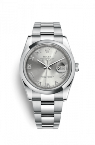 Rolex 116200-0062 : Datejust 36 Stainless Steel Domed / Oyster / Rhodium Roman