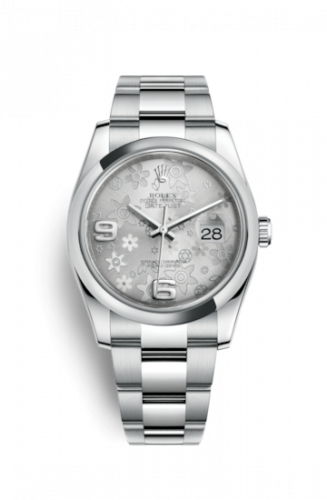 Rolex 116200-0071 : Datejust 36 Stainless Steel Domed / Oyster / Silver Floral